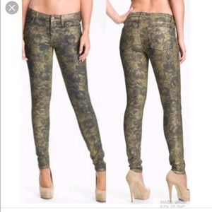 7 for all Mankind gold floral skinny jeans so 27